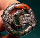 19thC SCOTTISH AGATE PEBBLE STERLING BROOCH