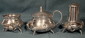 CHINESE EXPORT SILVER 3PC. CRUET with SPIDERS & LIZARDS