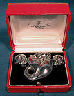 GEORG JENSEN DOUBLE TULIP STERLING PIN & EARRINGS