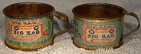 Pair ZIG ZAG CONFECTION TIN PREMIUM CUPS c1900