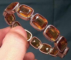 Edwardian STERLING &amp; AMBER CRYSTAL BRACELET c1900-10