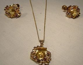 Vintage 10K CITRINE PENDANT NECKLACE & EARRINGS