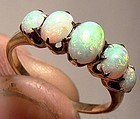 Late Victorian 14K OPALS ROW RING c1900