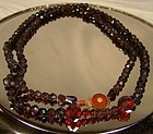 19thC DUTCH RED GLASS NECKLACE w/ 14K CARNELIAN CLASP