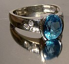 10K WHITE GOLD BLUE TOPAZ RING with DIAMONDS
